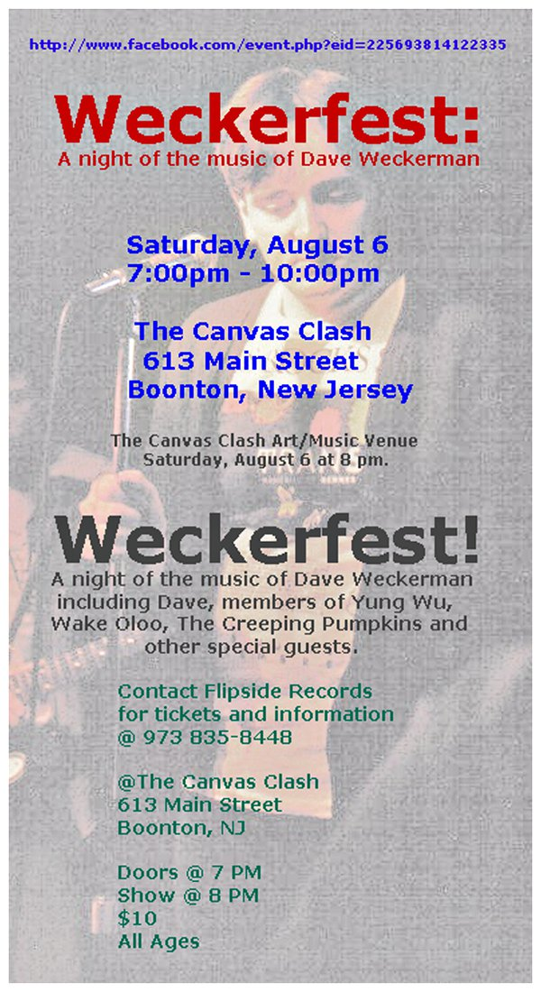 Weckerfest! Saturday, August 6 - The Canvas Clash - Boonton, NJ